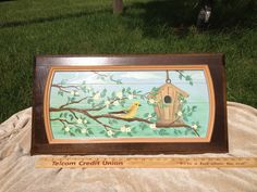Bird at Birdhouse in Tree painted on Upcycled Kitchen Cabinet Door. $30.00, via Etsy. Upcycled Kitchen Cabinets, Kitchen Cabinet Doors, Birdhouses, Frame, Crafts, Painting, Etsy, Home Decor, Picture Frame