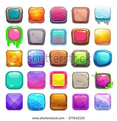 Big set of cartoon square buttons, vector gui assets collection for game design - stock vector