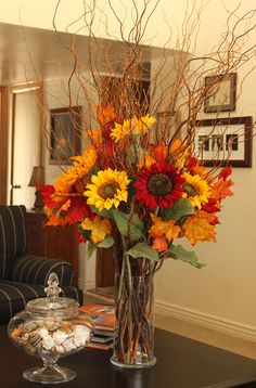 Fall decor.. change out the flowers in my vase!