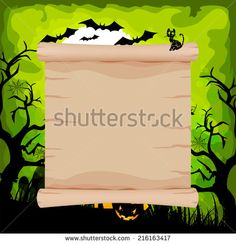halloween parchment sign on background green