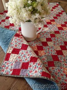 """Authentic Vintage 30s Feedsack Crib QUILT Lots of Red! 44 1/2"""" x 32"""" www.Vintageblessings.com"""