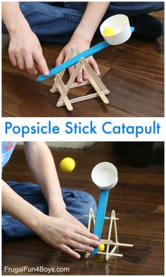 STEM challenge for kids – build a catapult out of popsicle sticks! Here's a fun (and effective) catapult to build out of popsicle sticks, hot glue, and a few other basic household supplies. We've been having a blast with this little contraption! The catap Catapult For Kids, Popsicle Stick Catapult, Popsicle Stick Crafts For Kids, Craft Stick Crafts, Diy Crafts For Kids, Fun Crafts, Craft Sticks, Kids Diy, Decor Crafts