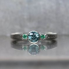For my daughters 15 birthday dedication blue Zircon Emerald Engagement Ring Silver by NangijalaJewelry, $209.00