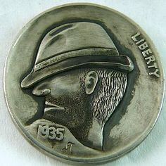 MARK THOMAS HOBO NICKEL - SLOUCH HAT - 1935 BUFFALO NICKEL Mark Thomas, Hobo Nickel, Buffalo, Cactus, Coins, Carving, Hat, Chip Hat, Rooms