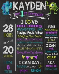 Birthday Chalkboard Poster Sign • Monsters Theme • Free economy shipping • Fast turnaround time • Great customer service • These birthday boards are custom, high resolution digital files that are personalized for each customer upon order