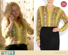 Chloe's yellow snake print blouse on The Goodwin Games.  Outfit details: http://wornontv.net/15928/