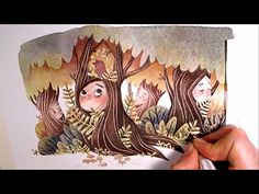 """Watercolor Illustration """"treepeople"""" with masking fluid and colored pencils by Iraville - YouTube"""