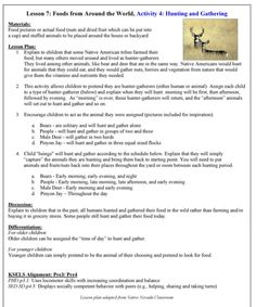 Hunter Gatherer lesson simulation, Root For Food Lesson 7 Activity 4 page 66