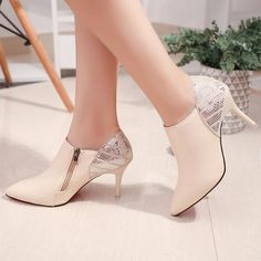 48913f1ac Shinning Sequins Pointed Toe Side Zipper Middle Stiletto Heels. Flat Boots