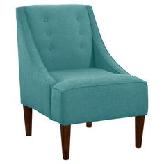 Button-tufted accent chair with a pine wood frame and foam cushioning. Handmade in the USA.  Product: ChairConstruct...