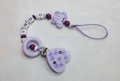 Schnullerkette Wunschname Motivclip Baby md261 von myduttel auf DaWanda.com