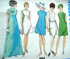 1960s SEMI FITTED A LINE DRESS PATTERN 2 LENGTHS  VOGUES BASIC DESIGN 1944
