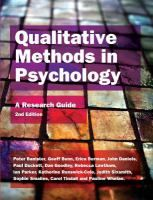 Qualitative methods in psychology : a research guide / Peter Banister... [et al.]