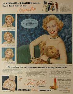 Virginia Mayo uses Westmore Tru-Glo Liquid Make-Up in 1953