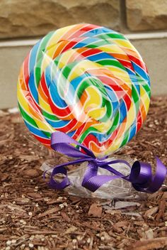 Plant colorful jellybeans with your kids and secretly replace with a giant lollipop for them to find later!