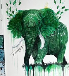 Fantastic Earth Elephant by @scandy_girl ...and for more cool art follow @justartsogram