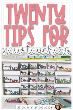 20 Tips for New Teachers Check out these tips for starting your first year teaching in the classroom! New teacher must haves, supplies, organization, and other ideas for making the year amazing! 1st Year Teachers, First Year Teaching, Teaching Supplies, Teaching Jobs, Classroom Supplies For Teachers, Teaching Ideas, Teachers Toolbox, Teacher Organization, Teacher Hacks