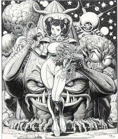 Space Aliens  Pen & Ink artwork by Arthur Adams