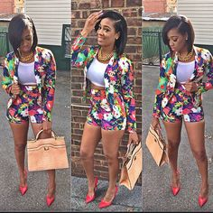Floral Blazer Shorts Crop Top Pointy High Heels Gold Chunky Chain Necklace Handbag Short Bob Hair Style African American Women Black Beauty Fashion Trend Swag BeautifiedTina Pretty Girl Swag Streetwear Style Urban Trend