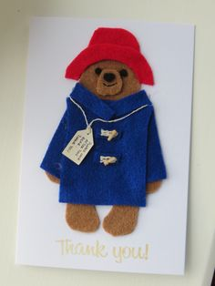 PADDINGTON BEAR felt thank-you card idea - with the ends of cocktail sticks for toggles!