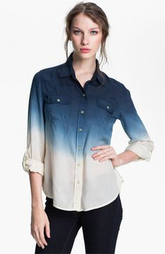 Love this ombre effect for inverted triangles. Pair with white straight leg denim pants for a sophisticated but casual look. go crazy with printed flats. Lucky Brand 'Brooke' Dip Dye Shirt | Nordstrom