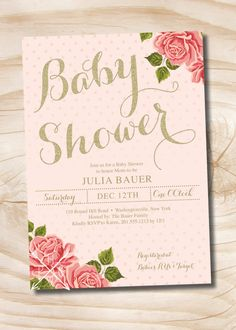 Gold And Floral Shabby Chic Baby Shower Invitation   Digital Or Printed  Invitation By PaperHeartCompany On