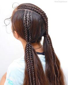Easy Boho Hairstyle For Long Hair - 20 Trendy Half Braided Hairstyles - The Trending Hairstyle Half Braided Hairstyles, Cute Hairstyles For Short Hair, Creative Hairstyles, Box Braids Hairstyles, Little Girl Hairstyles, Black Hairstyles, Hairstyles Men, Teenage Hairstyles, Hairstyles Videos