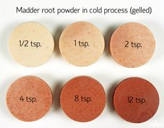 How Madder Root Powder acts in cold process soap--gelled. Non-gelled  photo also at this link for comparison