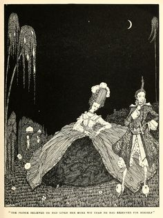 """Riquet with the Tuft: """"The Prince believed he had given her more wit than he had reserved for himself."""" Harry Clarke Illustrations: The Fairy Tales of Charles Perrault Harry Clarke, Famous Fairies, Vintage Fairies, Historical Art, Fantasy Books, Beautiful Architecture, Red Riding Hood, Conte, Illustrators"""