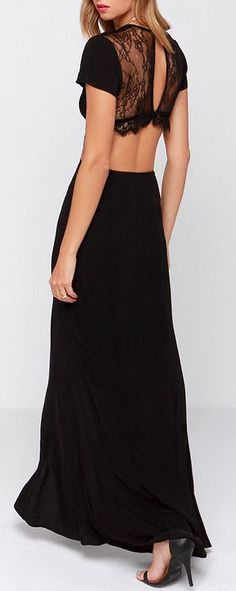 #fashion #black #maxi #dress #lace #pretty