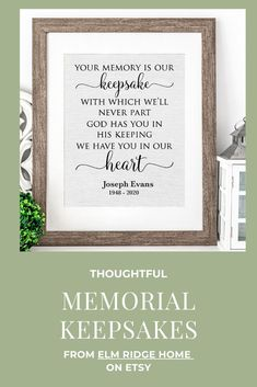 Our personalized prints are a beautiful way to remember a loved one. Display at a Memorial Service or keep in your own home to remind you of someone special. For more personalized memorial gift ideas visit Elm Ridge Home on Etsy or click on a pin.