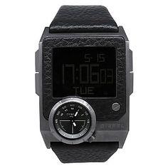 Diesel Mens SBA Quartz Leather Strap Watch