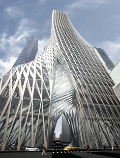 A design study for a tower straddling a street in Lower Manhattan, New York City.