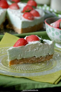 No Bake Woodruff-Cheesecake with melon