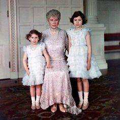 Queen Mary and her Grandchildren Princess Margaret & Elizabeth