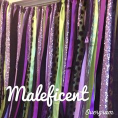 Maleficent Ribbon Garland Fabric Backdrop Photo Party Prop by ohMYcharley