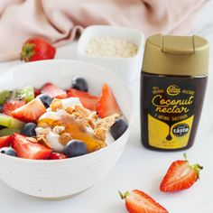 Our Coconut Nectar is a great natural alternative to processed sugars and syrups. For a quick and delicious breakfast, try a drizzle of it over some yoghurt and fruit, and experience that gorgeous natural sweetness in every single mouthful Coconut Nectar Recipes, Processed Sugar, Fruit Salad, Alternative, Organic, Natural, Breakfast, Sweet, Food