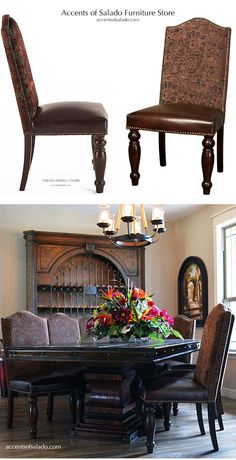 VERONA Dining Chairs Chenille & Leather at Accents of Salado.