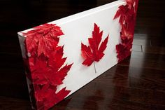 Flag Craft: Made from leaves.we could use cut out red maple leaves!Canadian Flag Craft: Made from leaves.we could use cut out red maple leaves! Summer Crafts, Fall Crafts, Holiday Crafts, Kids Crafts, Canadian Gifts, Canadian Recipes, Canadian Things, Canadian Dollar, Canada Day Crafts