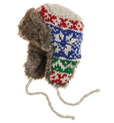 - KNITTING - hey, does anybody have a pattern or any idea how to make a trapper hat like this one?except without the intarsia, i'm not that advanced thanks a Craft Patterns, Knit Patterns, Trapper Hats, Free Pattern, Pattern Ideas, Knitting Accessories, Baby Birthday, Baby Hats, Knit Crochet
