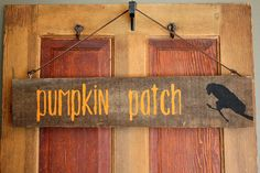 Rustic Pumpkin Patch Fall Halloween Black Crow by SalvageOwl, $24.99