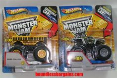 HOT WHEELS LOT OF 2   MONSTER TRUCKS WITH CRUSHABLE CAR  ADD THESE  TRUCKS TO YOUR COLLECTION  1) HIGHER EDUCATION  2) MR-X-O $19.88