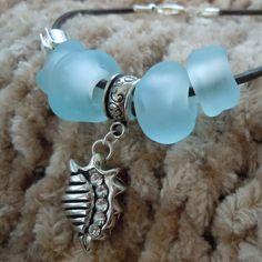 SRA Big Hole Beaded Charm Bracelet with Aqua Sea by JBJGlassStudio, $42.00