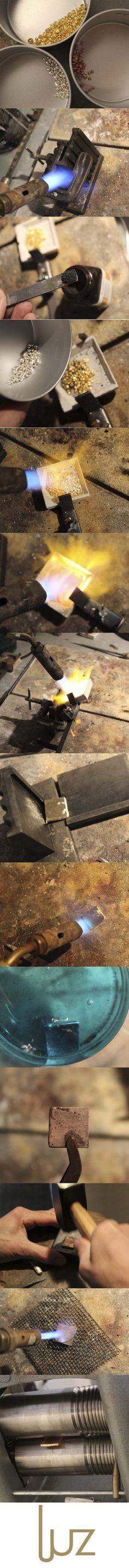How to alloy. From fine gold to 18 carat plate. www.atelierluz.nl - Come si crea una lega dall'oro 18 carati