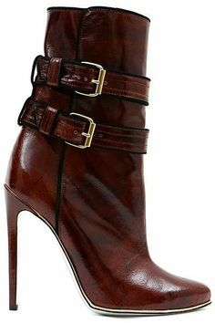 brown leather high heel ankle boot