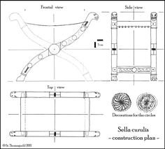 St. Thomas guild - medieval woodworking, furniture and other crafts: Construction plan of a sella curulis