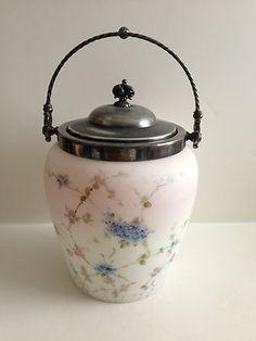 Antique/Vintage Mt. Washington Pairpoint Glass Biscuit Jar Cracker Jar Beautiful