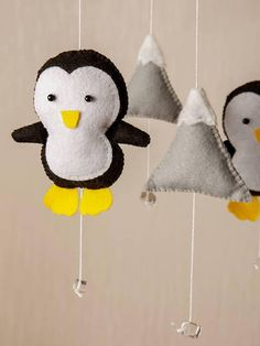 Penguin Baby Mobile Woodland Nursery Mobile Nursery Decor Crib Mobile Cloud Mobile Star Mobile Mountain Nursery Baby Felt Mobile Bebe Mobile