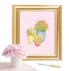 Garden Flower Pots on pink Background Print, Poster, Screenprint, Gallery Wall, Printable Art, Instant Download, Flowers Print, Garden Print