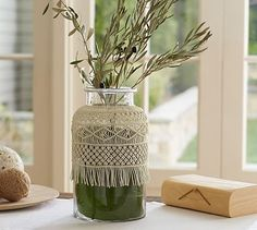 ahh someone please gift me this - love! Macrame Vase #potterybarn